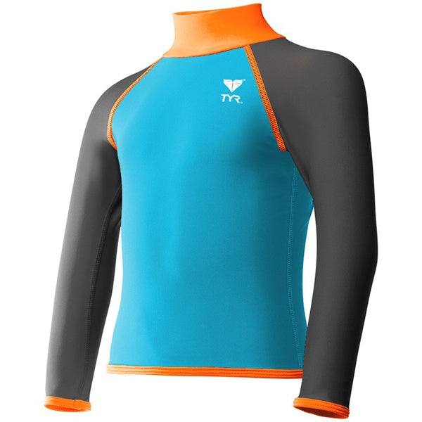 BOYS SOLID RASHGUARD BLUE/ORANGE TYR