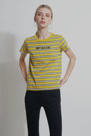 Dont Talk to Me Regular Fit Striped Shirt With Print
