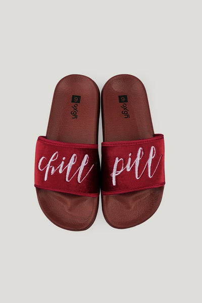 Ladies' Chill Pill Single Band Sliders With Print