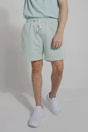 Mid Rise Knit Shorts With Contrast Taping