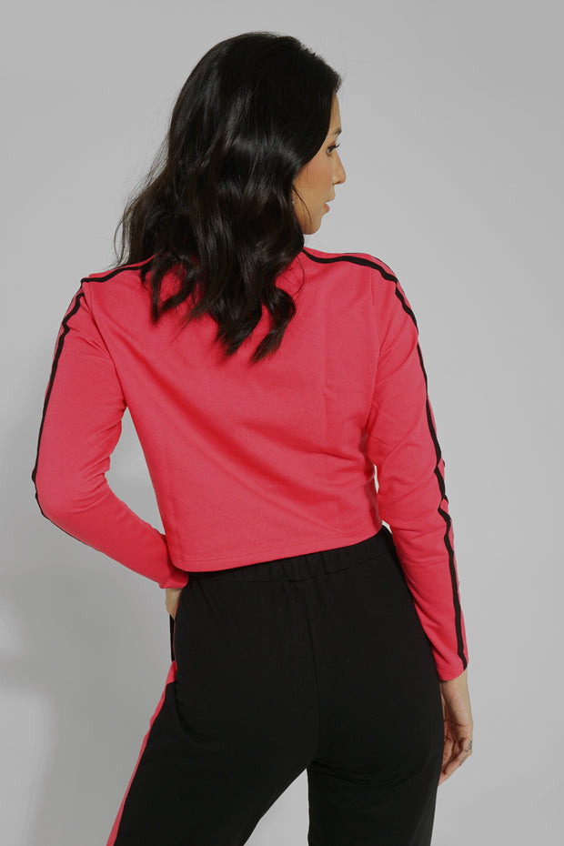 Pullover With Neon Sleeve Stripes