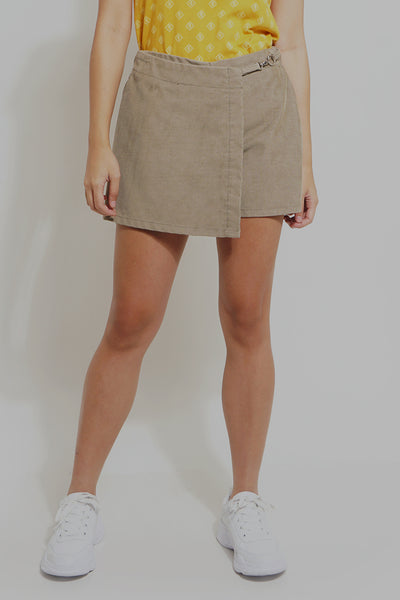 Woven Corduroy Skort With Hardware Detail