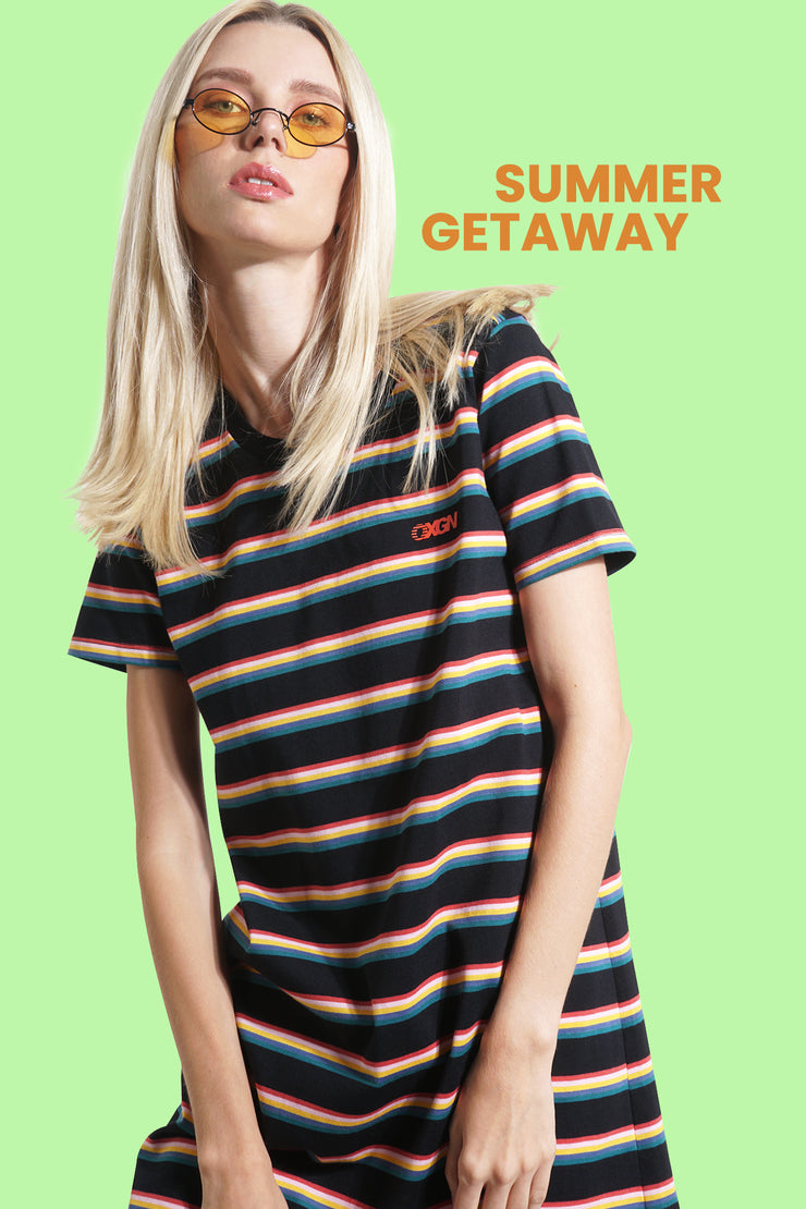 OXGN Striped T-Shirt Dress With Special Print