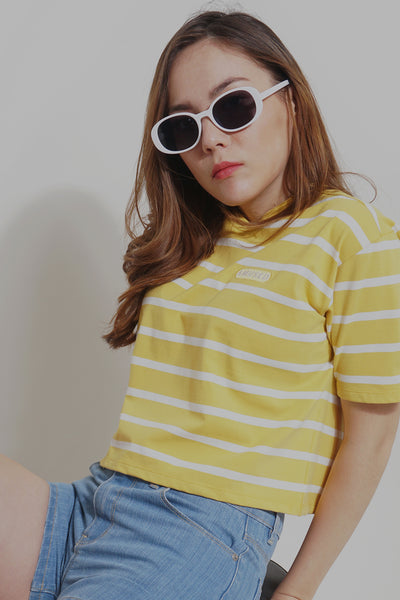 Amused Striped Boxy Tee With Embroidery