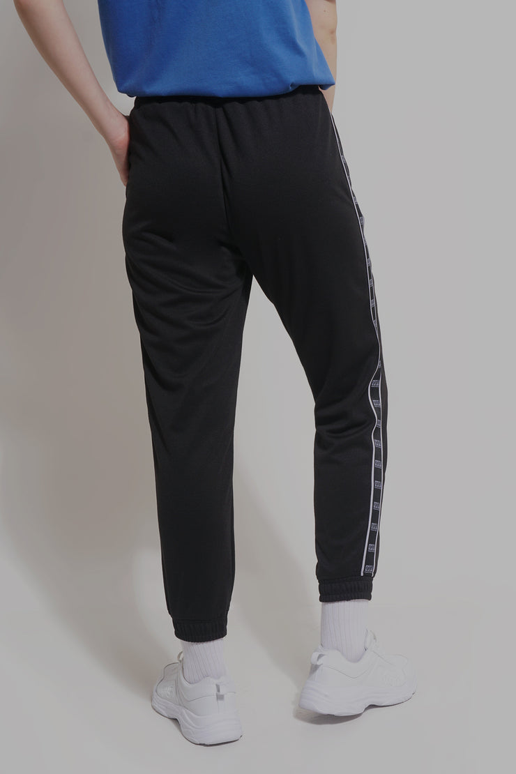 Premium Threads Mid Waist Knit Track Pants With Printed Taping