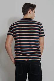 Striped Easy Fit Tee With Embroidery
