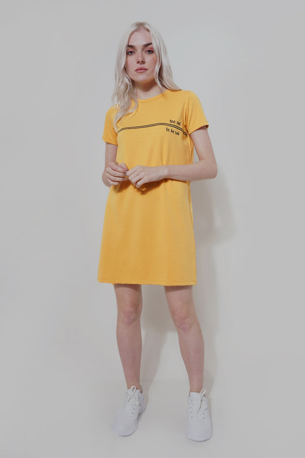 Too Rad To be Sad Regular Fit Shirt Dress With Print
