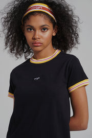 Premium Threads Regular Fit Striped Ringer Tee With Embroidery