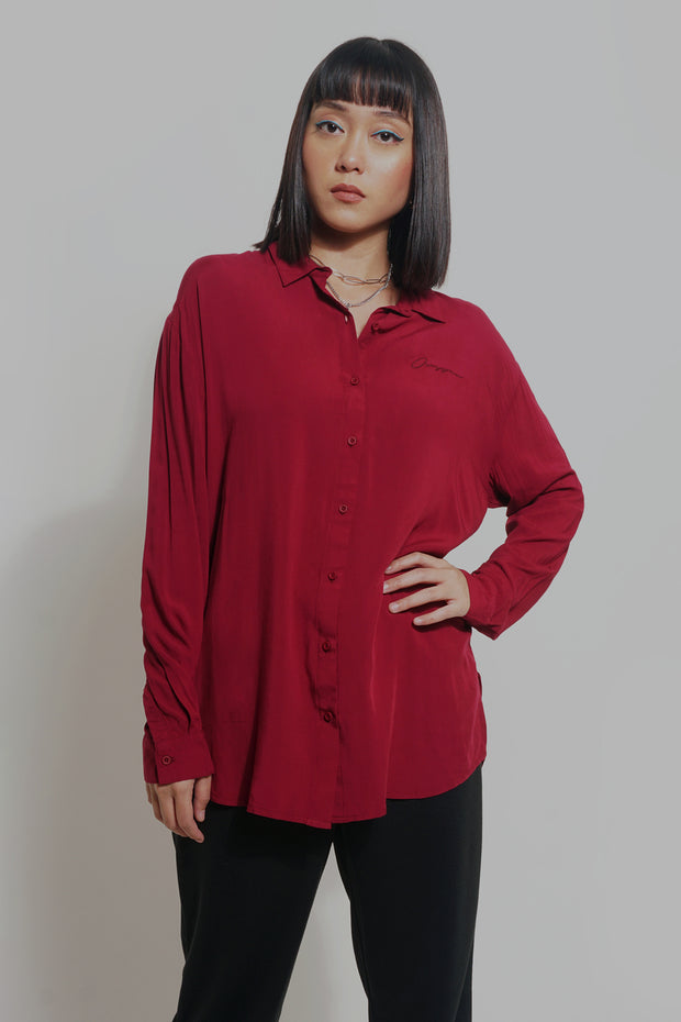 Oversized Fit Shirt With Embroidery