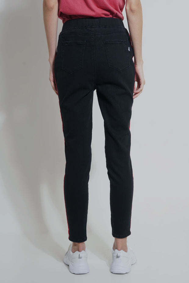 Black High Waisted Lean Jeans With Contrast Taping