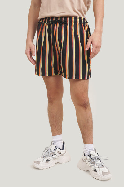 Mid Rise Striped Board Shorts
