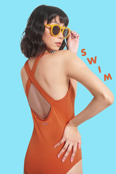 One Piece Crossback Swimsuit With Rubber Patch