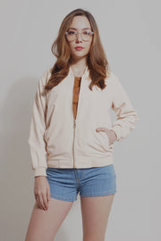 Suede Bomber Jacket With Pockets