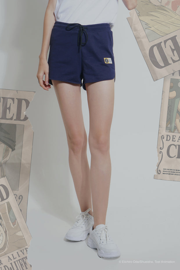 One Piece Mid Waist Track Shorts With Patch