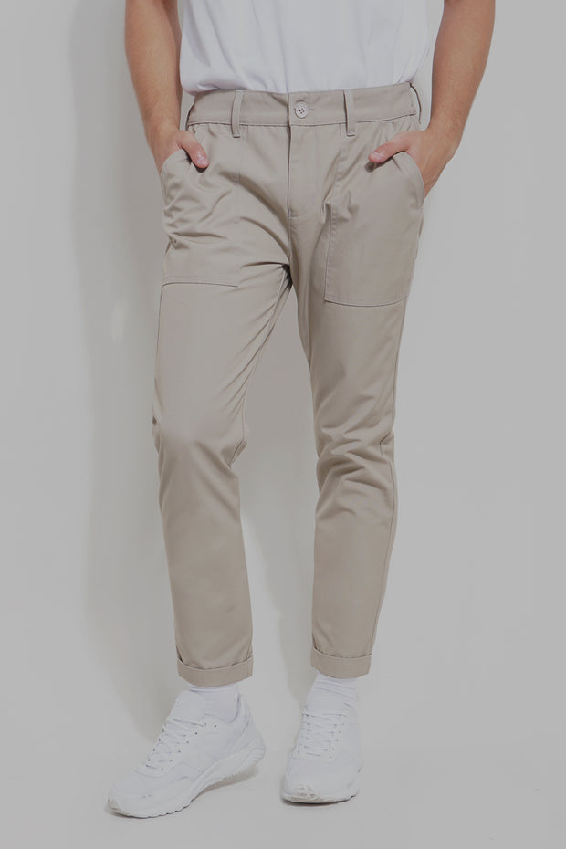 Slim Trousers With Pocket Detail And Folded Cuff
