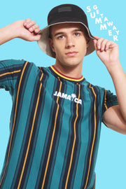 Jamaica Striped Easy Fit Tee With Embroidery