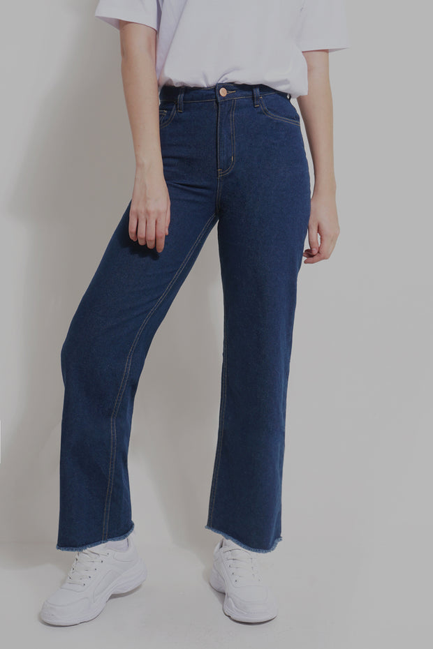 Mid Wash Wide Leg High Waist Jeans