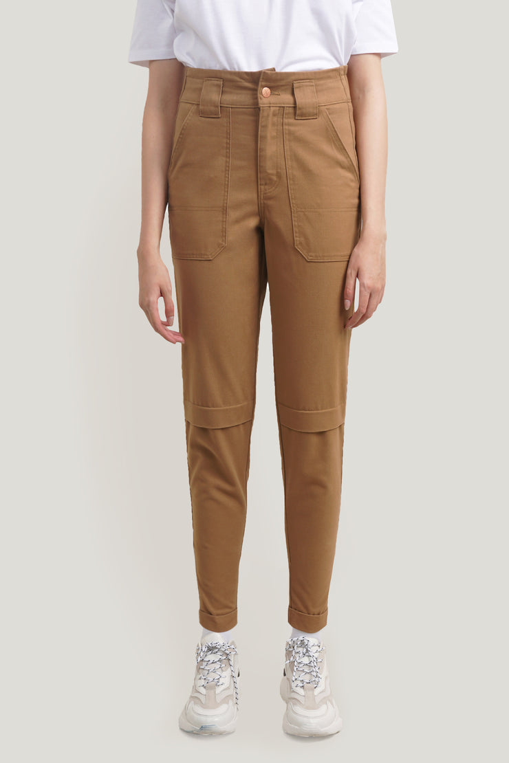 Mid Waist Trousers With Patch Pockets