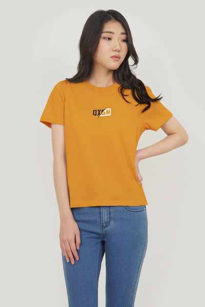 OXGN Regular Fit Spliced Logo Tee With Embroidery