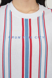 I Run This City Striped Oversized Fit Tee With Embroidery