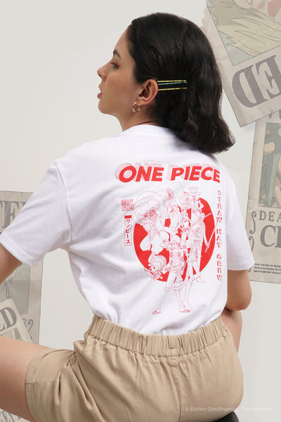 One Piece x OXGN Oversized Fit Tee With Straw Hat Crew Graphic Print