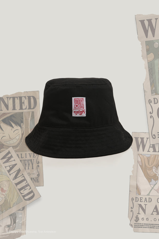 One Piece x OXGN Bucket Hat With Straw Hat Woven Label