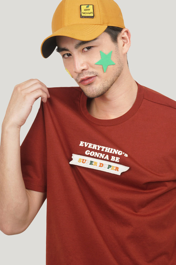 Pure Optimist Everything's Gonna Be Super Duper Easy Fit Tee with Velcro Patch