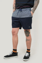 Woven Urban Shorts With Color Blocking Detail