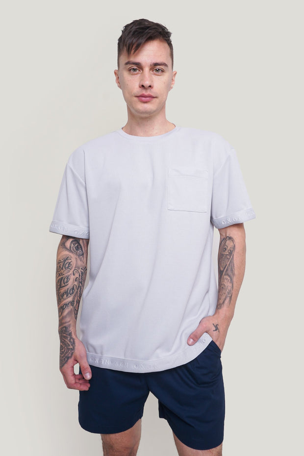 Premium Threads Easy Fit Tee With Tonal Logo Ribbing