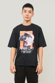 I Wanna Live Forever Oversized Fit Tee With Embroidery