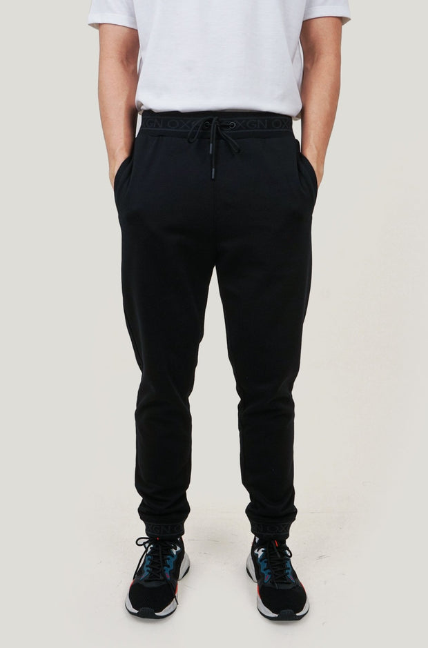 Premium Threads Slim Track Pants With Logo Cuffed Hem