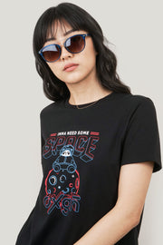 Imma Need Some Space Panda Mascot Regular Fit Tee With Graphic Print