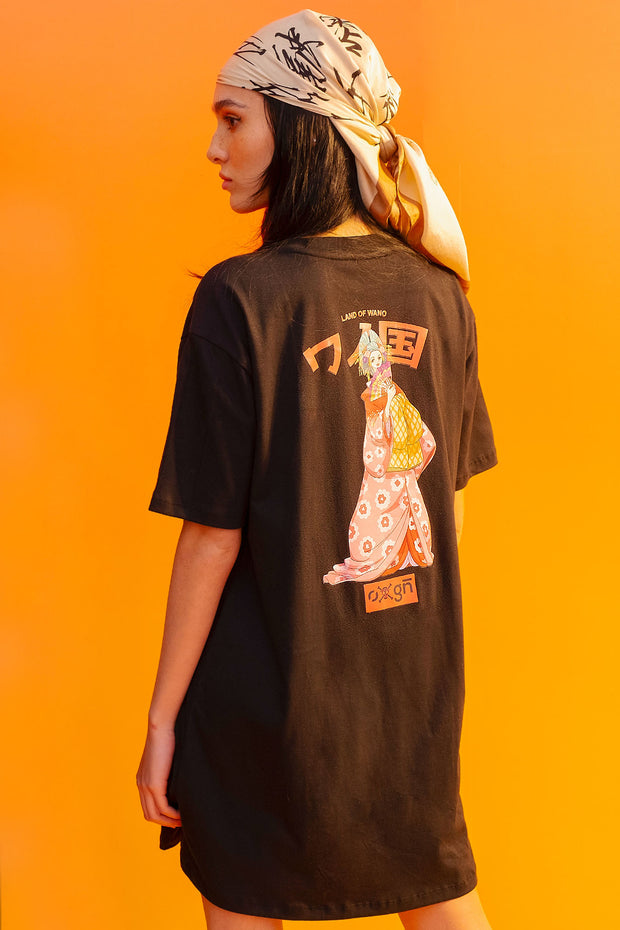 One Piece x OXGN Komurasaki Oversized Fit Dress With Graphic Print