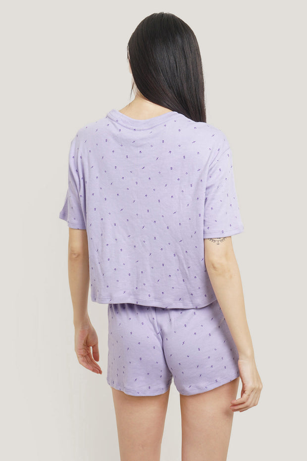 All Over Print Tee And Shorts Sleepwear Set