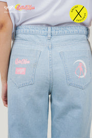 [Online Exclusive] OXGN x Pretty Guardian Sailor Moon Wide Leg Jeans With Graphic Print