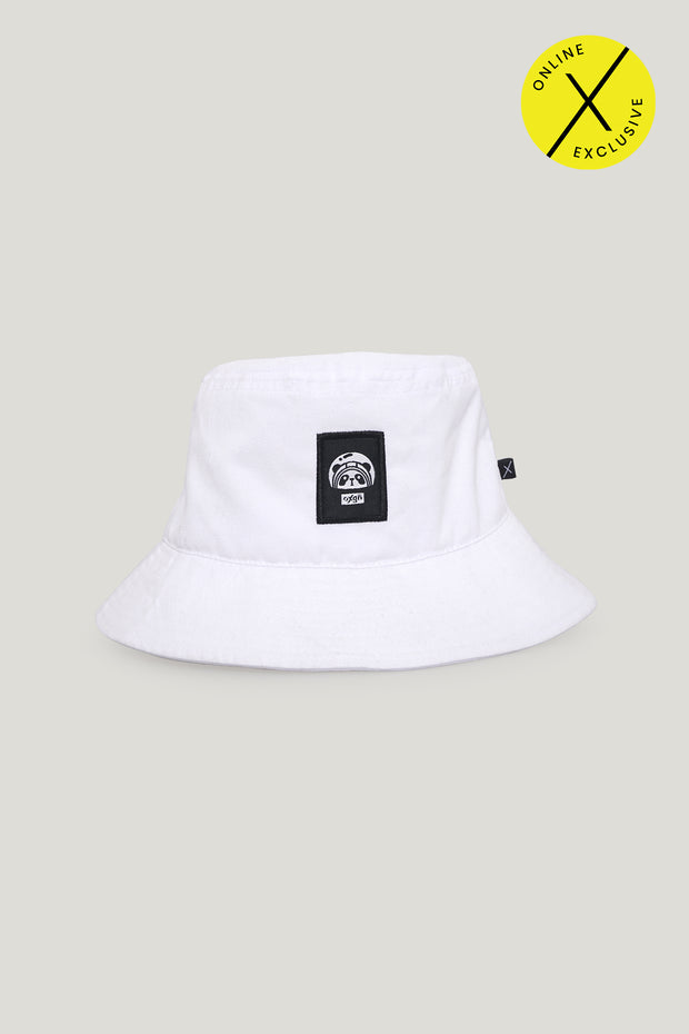 A Space Panda Bucket Hat with Woven Patch