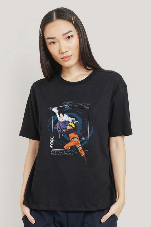 Naruto Shippuden x OXGN Naruto and Sasuke Oversized Graphic Tee