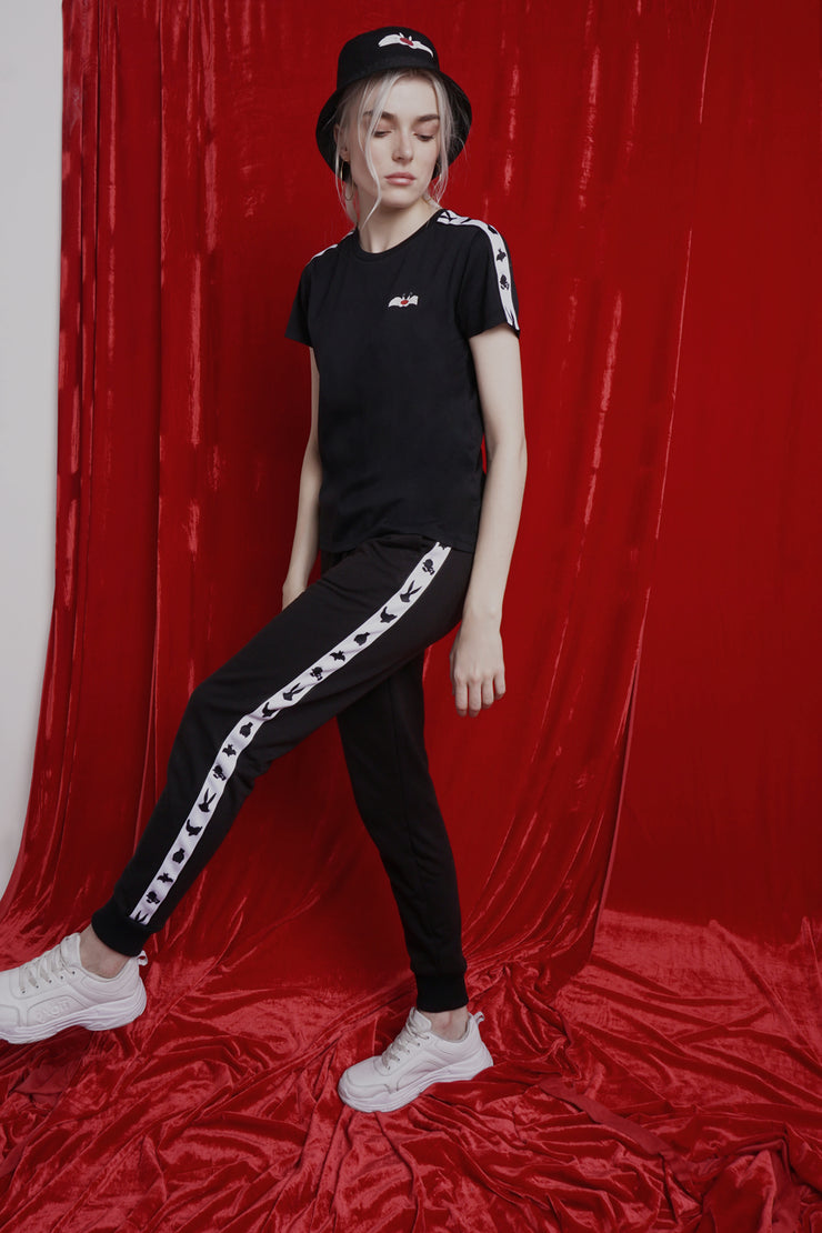 Looney Tunes Mid Waist Track Pants With Taping
