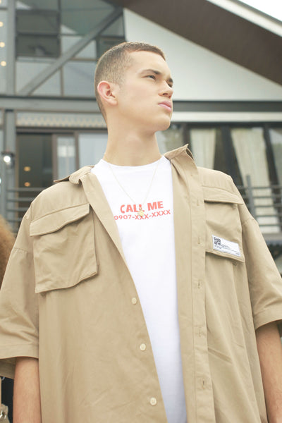 Oversized Fit Shirt With Cargo Pocket Detail