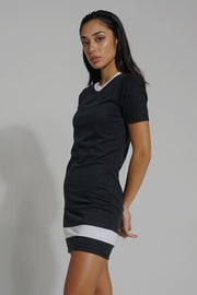 Premium Threads Dress With Stripe and Embroidery