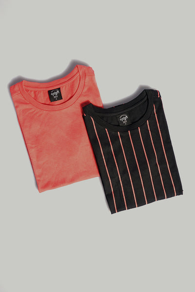 Striped and Plain Tee Bundle – Pack of 2