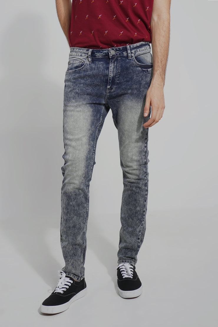 Washed Mid Rise 5-Pocket Skinny Jeans