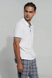 Easy Fit Polo with Striped Sleeve Cuff