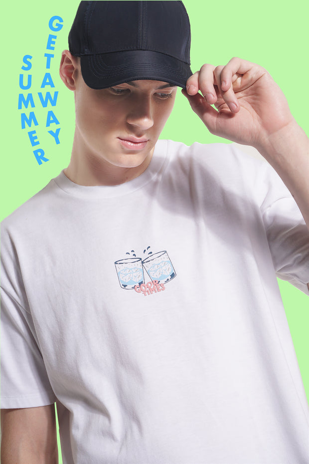 Good Times Easy Fit Tee With Graphic Print