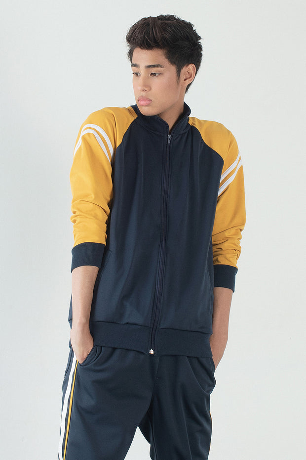 Premium Threads Track Jacket With Contrast Sleeves