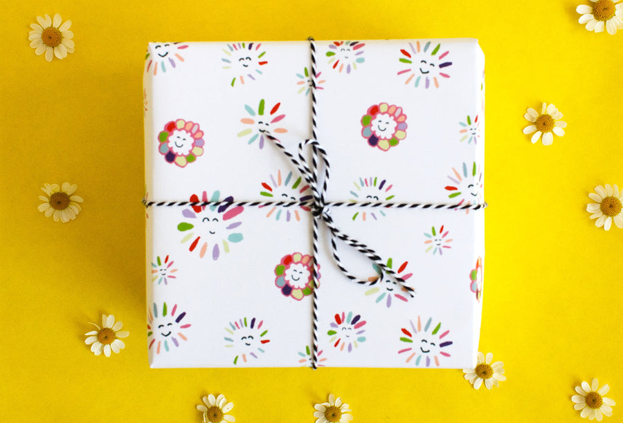 Smile Flowers Gift Wrap - 3 Sheets