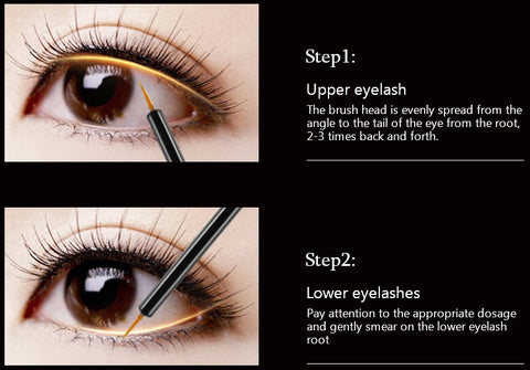 1fd33aee09b Simply place a thin line along the base of your upper and lower lash line  once a day at nighttime. Apply only at the root area of eyelashes and ...