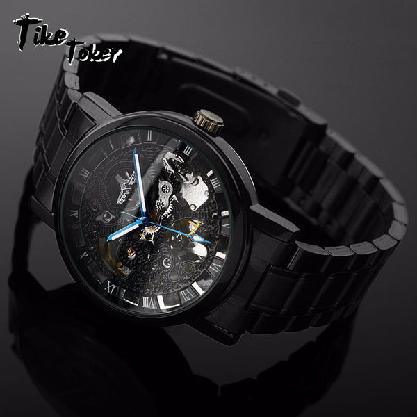 Tike Toker, New Black Men's Skeleton WristWatch Stainless steel Antique Steampunk Casual Automatic Skeleton Mechanical Watch 8