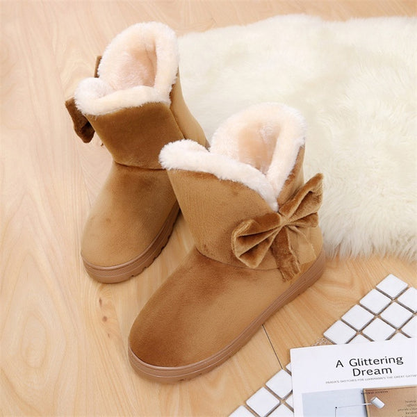 Women Winter Shoes Warm Cotton Plush Snow Boots Flat Platform Female Soft Ankle Boot Butterfly-knot Casual Women Footwear SAT905