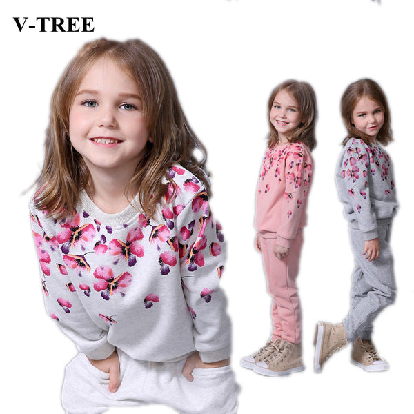 V-TREE Spring autumn girls clothing set floral kids suit set casual two-piece sport suit for girl tracksuit children clothing